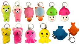 96 Units of Animal Shape Squishy Keychain - Key Chains