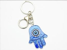 96 Units of Blue Color Evil Eye Hand Keychian - Key Chains