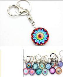96 Units of Mandala Style Glass Keychain - Key Chains