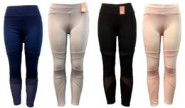 12 Units of Solid Color Legging Assorted Colors Mesh Inserts - Womens Leggings