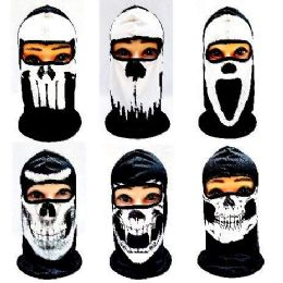 36 Units of Black And White Skull Print Ninja Face Mask - Unisex Ski Masks