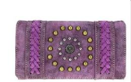 5 Units of Montana West Concho Collection Secretary Style Wallet Purple - Wallets & Handbags