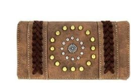 5 Units of Montana West Concho Collection Secretary Style Wallet Coffee - Wallets & Handbags