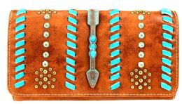 4 Units of Montana West Aztec Collection Wallet Wristlet In Brown - Wallets & Handbags