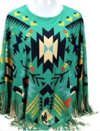 3 Units of Montana West Aztec Pattern Tan Poncho With Fringe - Womens Fashion Tops