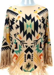 4 Units of Montana West Aztec Pattern Tan Poncho With Fringe - Womens Fashion Tops