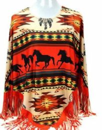 4 Units of Montana West Aztec Horse Collection Poncho - Womens Fashion Tops