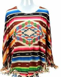 4 Units of Montana West Serape Collection Poncho - Womens Fashion Tops