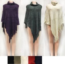 12 Units of Crisscross Knitted Sweater Ponchos With Fringe - Winter Pashminas and Ponchos