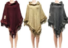 12 Units of Solid Color Faux Fur Ponchos Assorted - Winter Pashminas and Ponchos