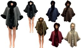 12 Units of Solid Color Faux Fur Hooded Capes Assorted - Winter Pashminas and Ponchos