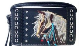 6 Units of Rhinestone Wallet Purse With Horse Embroidery Black - Shoulder Bags & Messenger Bags