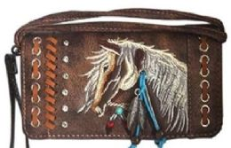 6 Units of Rhinestone Wallet Purse With Horse Embroidery Brown - Shoulder Bags & Messenger Bags
