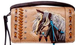 6 Units of Rhinestone Wallet Purse With Horse Embroidery Tan - Shoulder Bags & Messenger Bags