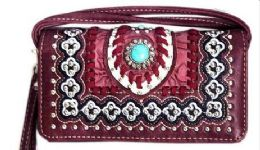 6 Units of Western Wallet Purse Concho Design Red - Shoulder Bags & Messenger Bags