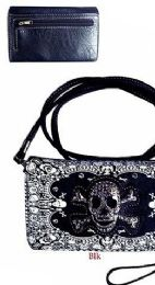 6 Units of Wallet Purse Long Strap Black And White Skull - Shoulder Bags & Messenger Bags