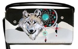 6 Units of Wallet Purse Long Strap Wolf With Dream Catcher Black - Shoulder Bags & Messenger Bags