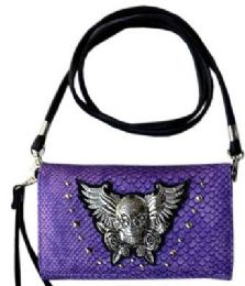 6 Units of Studded Skull With Wings And Roses Purse Purple Wallet - Shoulder Bags & Messenger Bags