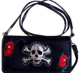 6 Units of Rhinestone Skull Wallet Purse With Rose - Shoulder Bags & Messenger Bags