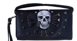 6 Units of Rhinestone Wallet Purse With Skull And Studs - Shoulder Bags & Messenger Bags