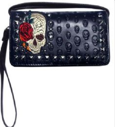 6 Units of Embroidered Skull With Rose Studded Wallet Purse - Shoulder Bags & Messenger Bags