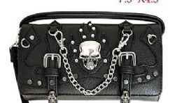 6 Units of Wallet Purse Long Strap Skull With Chains Black - Shoulder Bags & Messenger Bags
