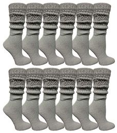 12 Units of Yacht & Smith Womens Cotton Extra Heavy Slouch Socks, Boot Sock Solid Heather Gray - Womens Crew Sock