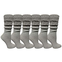 6 Units of Yacht & Smith Womens Cotton Extra Heavy Slouch Socks, Boot Sock Solid Heather Gray - Womens Crew Sock
