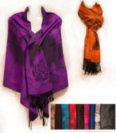 24 Units of Large Pashmina With Rose Patterns Assorted - Winter Pashminas and Ponchos