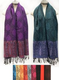 24 Units of Large Paisley Pattern Scarves With Fringes - Winter Pashminas and Ponchos
