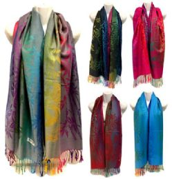 24 Units of Multicolor Panda Bamboo Pattern Large Pashmina Scarves - Winter Pashminas and Ponchos