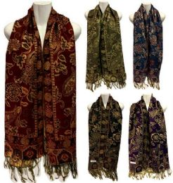 24 Units of Pashmina Scarves Gold Lined With Paisley - Winter Pashminas and Ponchos