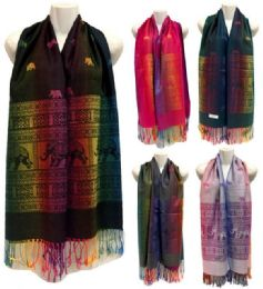 24 Units of Multicolor Elephant Pattern Pashmina With Fringes - Winter Pashminas and Ponchos