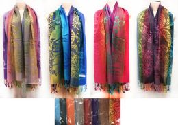24 Units of Large Multicolor Pashmina Paisley Pattern Scarves - Winter Pashminas and Ponchos