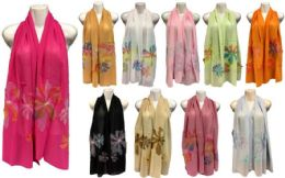 24 Units of Silk Scarves with Large Flower - Winter Pashminas and Ponchos