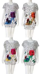 12 Units of Heel with Flower Rhinestone Shirt Assorted Colors - Womens Fashion Tops
