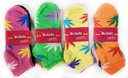 144 Units of Women Socks With Marijuana Leaves Assorted Colors - Womens Ankle Sock