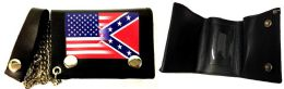 12 Units of Tri Fold Leather Wallet With Chain USA And Rebel Combo - Leather Wallets