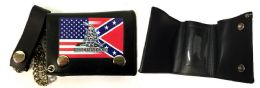 12 Units of Tri Fold Leather Wallet USA Rebel Combo With Gadsden - Leather Wallets