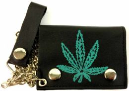 12 Units of Single Green Marijuana Leaf Leather Trifold Chain wallet - Leather Wallets