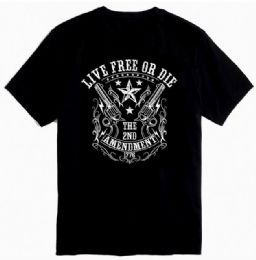 12 Units of Black Color T Shirt Second Amendment 1776 With Crest - Mens T-Shirts
