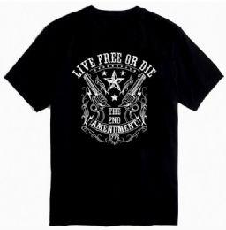 12 Units of Black Color T Shirt Second Amendment 1776 With Crest Plus Size - Mens T-Shirts