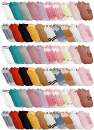 180 Units of Yacht & Smith Assorted Pack Of Girls Low Cut Printed Ankle Socks Bulk Buy - Girls Ankle Sock