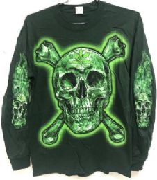 12 Units of Green T Shirt Skull And Bones With Leaf Long Sleeves - Mens T-Shirts