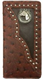 12 Units of Horse With Horse Shoe Design Western Long Wallet In Brown - Wallets & Handbags