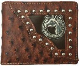 12 Units of Horse With Horse Shoe Western BI Fold Wallet In Brown - Wallets & Handbags