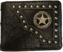 12 Units of Bi Fold Black Western Wallet With Star Design Black - Wallets & Handbags