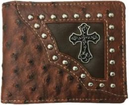 12 Units of Bi Fold Brown Cross Western Wallet - Wallets & Handbags