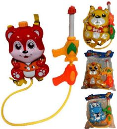 12 Units of Children Animal Squirt Water Gun Toy Cartoon Animal Backpack - Water Guns