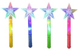 48 Units of Light Up Star Shaped Magic Wand Assorted Colors - Light Up Toys